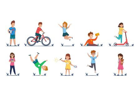 Kids cartoon vector illustration in casual clothes funny kids playing outside.