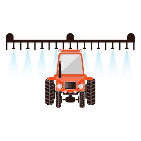 Crop sprayer or liquid fertilizer applicator. Vector illustration. Agricultural machinery crop sprayer.