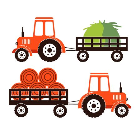 Two farm tractors isolated on white background. Heavy agricultural machinery for field work. Illustration