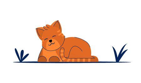 Cat litte kitten vector character. Cute feline kitty animal.