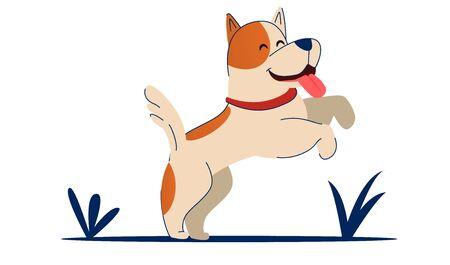 Vector illustration. Cute cartoon vector puppy dog