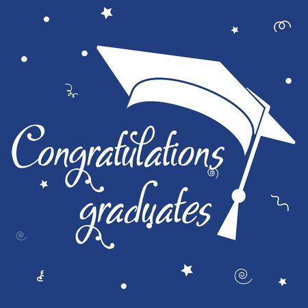 Chapeau d'obtention du diplôme d'étudiant. Félicitations diplômé. Classe de lettrage de 2020 pour l'accueil.
