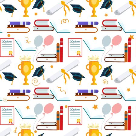 Graduate abstract graduation seamless pattern with cup background vector illustration.