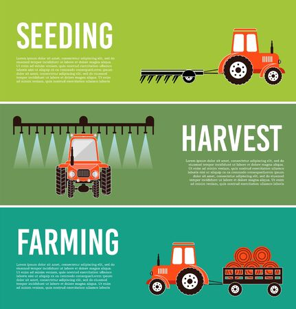 Agro exposition set of banners vector illustration.