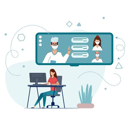 Online Doctor, Telemedicine, Medical Service Online for Patients. illustration Online medical concept. Medical Consultation by Internet with Doctor. Telemedicine concept, Healthcare service.