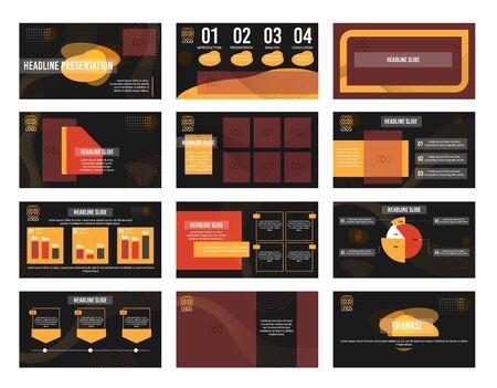 Business  presentation template set. Modern abstract design. Illustration
