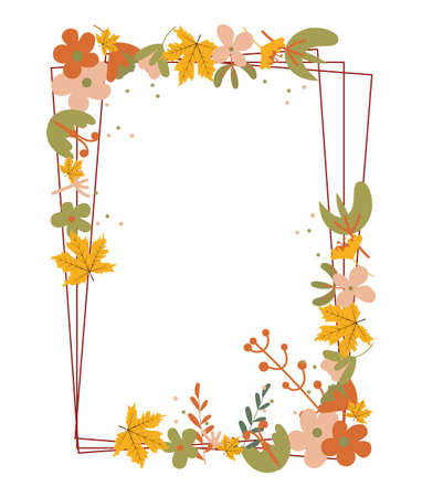 Autumn frame with autumn leaves and floral elements in fall colors.