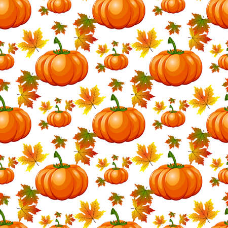 Happy Thanksgiving Day seamless pattern with holiday objects in flat style.