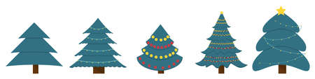 Christmas trees vector illustration. Collection of christmas trees with holiday garland decoration. Çizim