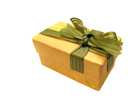closed ribbon: Brown closed cartoon gift box with green ribbon isolated on white