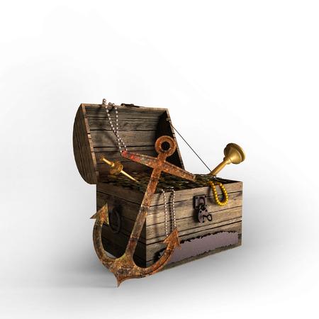 cofre del tesoro: 3D viejo cofre del tesoro lleno de monedas, collares, joyas con ancla frente en fondo blanco