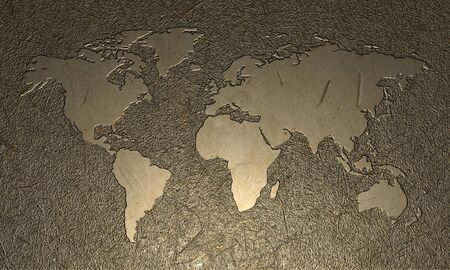 Engraved wood world map  photo