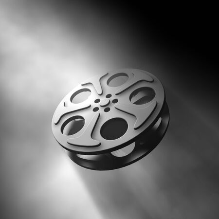 3D render for a film reel inside a volume light Stock Photo - 1716412