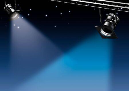 vedette de cin�ma: Midnight - deux spots de lumi�re sur un fond bleu de r�ve  Banque d'images