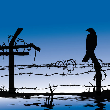 Bird standing on wire fence - computer generated artwork Vector