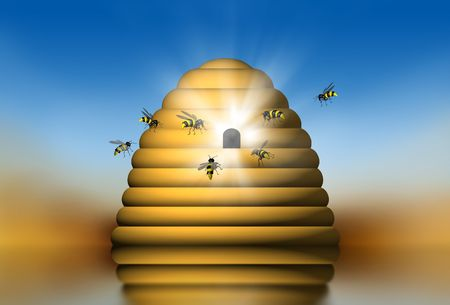 thier: Group of bees going into thier nest - 3d illustration Stock Photo