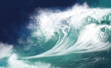 tsunami wave: White ocean waves on blue sky background - Computer Illustration