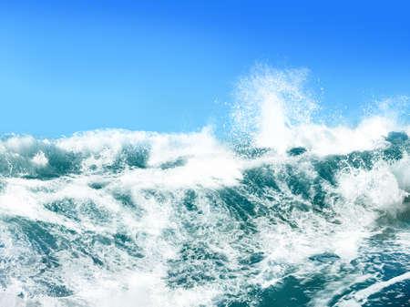 shorebreak: White ocean waves on blue sky background - Computer Illustration