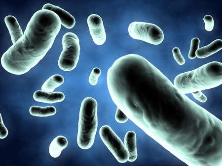Green bacteria on blue background - 3d render illustration illustration