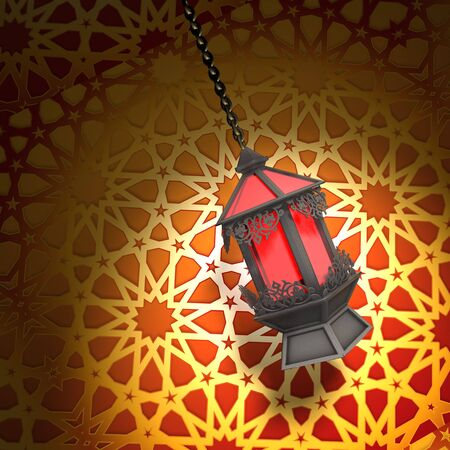 red oil lamp: Egyptian Fanoos or Lantern - 3d illustration