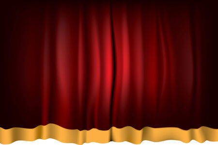 Red Theater Curtain with orange strip - vector illustration Vector