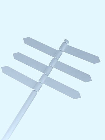 Blank Directional Metal Arrow Sign on sky background photo
