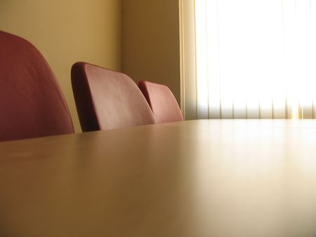 Red chairs in a meeting room and window with curtains Stock Photo - 5220643