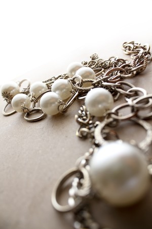silver jewelry: Beautiful Necklace jewelery in a moody atmosphere