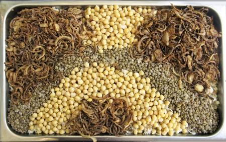 Brown rice, hommos and onion photo
