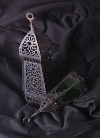 Egyptian lamps with green glass, used in ramadan  photo