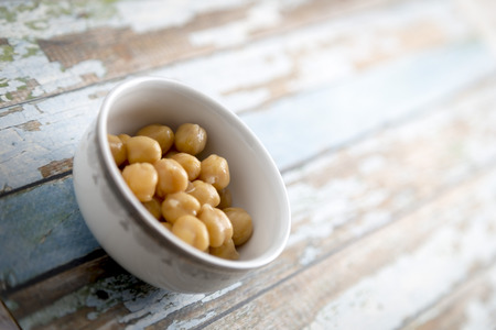 chickpea: chickpea salad in white plate Stock Photo