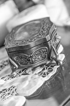 jewelry box on fabric photo