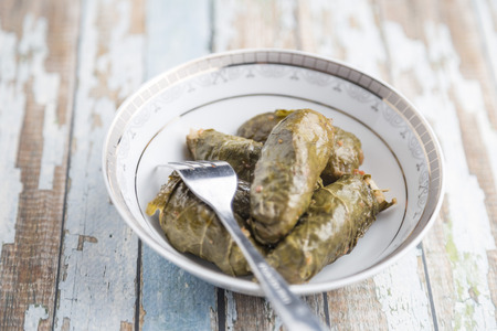 Stuffed Grape Leaves with hummos and beans salad photo