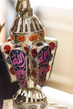 Egyptian lantern on balcony wall - fanous Ramadan  photo