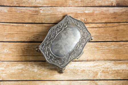 jewelry box on wooden board photo