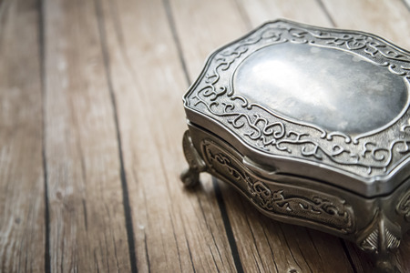 jewelry box on wooden board photo