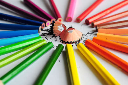 Pencil with shaving - coloured abstract photo