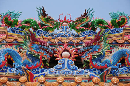 twin  Chinese Dragon on the roof  photo