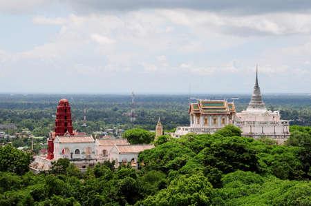 Thai pagoda on the hill, petchburi, Thailand Stock Photo