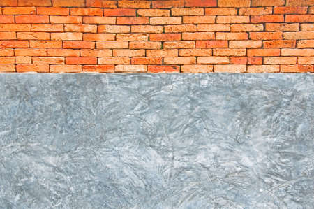 backgruond: Concrete and red brick wall backgruond