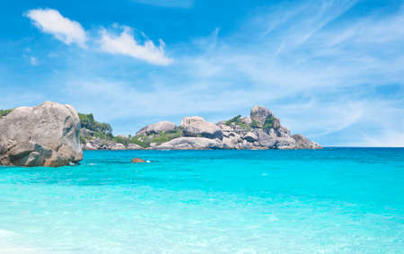 similan: Similan island and sea with blue sky background in Thailand