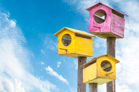 Nesting boxes and blue sky background
