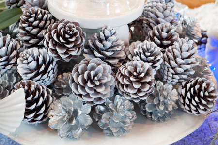 decorate: Silver pinecone for decorate on christmas