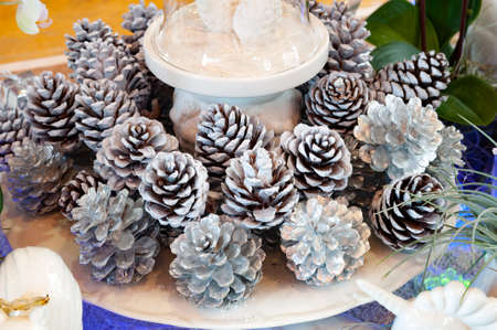 pinecone: Silver pinecone for decorate on christmas