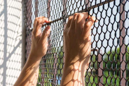 Hand of prisoner in jail catching mesh cage and  want to freedom