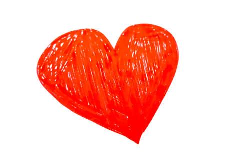 disegno cuore rosso a mano su sfondo bianco Archivio Fotografico