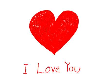 Cuore rosso con Ti amo scritto a mano sul concetto di carta di carta per giorno di San Valentino Archivio Fotografico