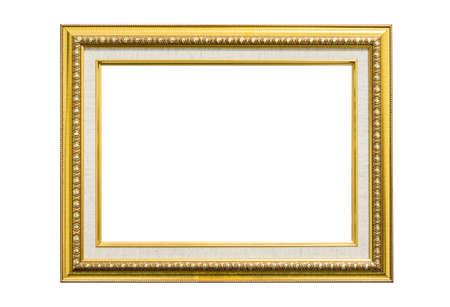 Dorata cornice d'epoca isolato su sfondo bianco