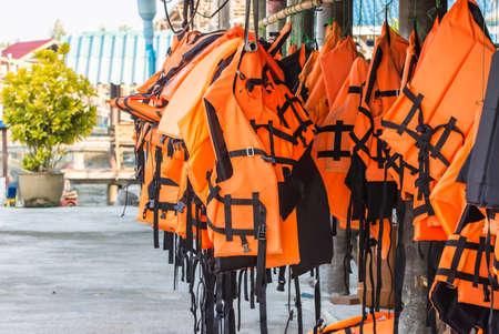 Orange life jacket for safe life