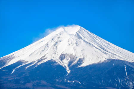 Close up the peak of mount Fuji with snow cover on the top Stock Photo